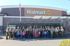 people standing outside for Shop With A Cop event at walmart