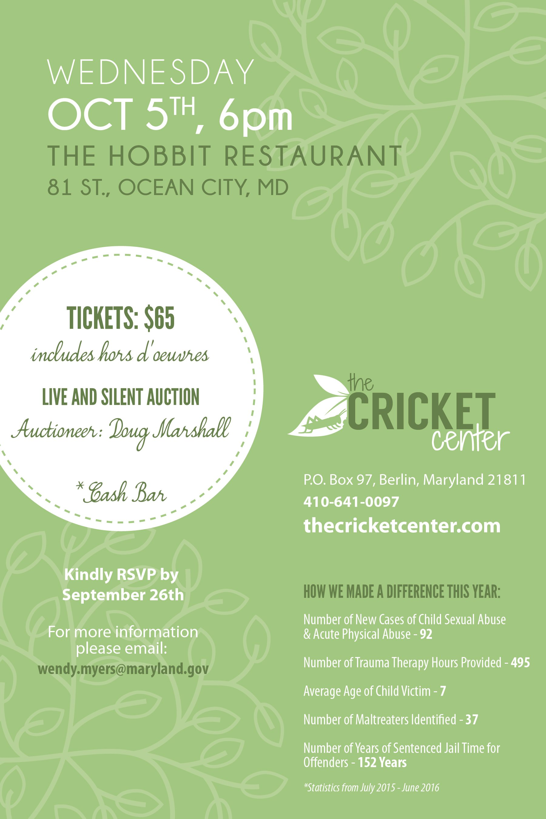 Flyer for Cricket Center for Child Advocacy Dinner Oct 5